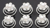 (Ship From USA) 6 Pcs Crystal Rhinestone Flower Shape Wedding Bridal Prom Veil Accessory Hair Twist