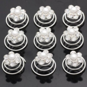 Catalina Crystal Pearl Hair Twists Pack of 12 Flower Bridal Wedding Hair Spin Accessories