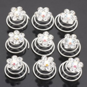 Pack of 12pcs Crystal Rhinestone Hair Twist Flower Wedding Bridal Hair Pin Spins By Catalina