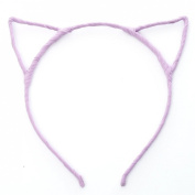 Womens Ladies Kids Girls Cat Ear Headband Hairband Aliceband Pastel Purple Colour