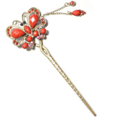 Red Butterfly Metal Hair Sticks