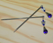 1 Pair Blue Metal Chinese Hair Chopsticks