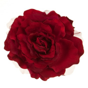 XL Flower 18cm Rose Silk Pin Clip on - Dark Red