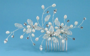 Exquisite Comb of. Rhinestone, Fine Metal Mesh Flower & Freshwater Pearls #86D9