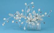 Exquisite Comb of. Rhinestone, Fine Metal Mesh Flower & Freshwater Pearls #86D9