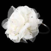 Emma Ivory Flower with Accented Rhinestones & Black Wedding Bridal Tiara Headband