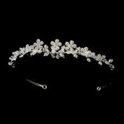 Chloe Floral. Crystal & Rhinestone Side Accented Wedding Bridal Tiara Headband