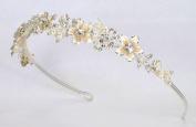 Wedding Bridal Headband Tiara of. Rhinestone Accented Enamelled Metal Flowers #83FC1