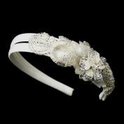 Arlette Bugle Bead, Pearl & Rhinestone Double Side Accented Floral Wedding Bridal Tiara Headband