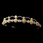 Aurora Gold Ivory Pearl & Clear Rhinestone Wedding Bridal Tiara Headband