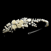 Mirlena Freshwater Pearl, Rhinestone, Ivory Porcelain Flower and Leaf Side Accented Wedding Bridal Tiara Headband