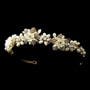 Penelope Gold Freshwater Pearl & Rhinestone Ivory Porcelain Floral Wedding Bridal Tiara Headband