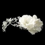 Olivia Diamond White Side Accented Flexible Band w/ Side Loops & Comb Wedding Bridal Tiara Headband