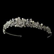 Jessica Antique Rhinestone & Freshwater Pearl Rose Wedding Bridal Tiara Headband