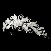 Janice Silver Rhinestone Floral Swirl Leaf Wedding Bridal Tiara Headband