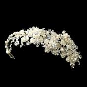 Tabitha Freshwater Pearl & Rhinestone Side Headpiece w/ End Loops Wedding Bridal Tiara Headband