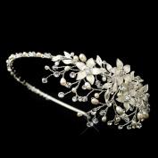 Antonia Freshwater Pearl Crystal & Rhinestone Flower Side Accented Wedding Bridal Tiara Headband