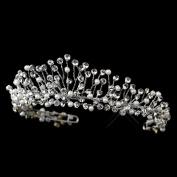 Cameron Antique Silver Diamond White Pearl & Rhinestone Wedding Bridal Tiara Headband