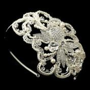 Marjorie Diamond White Pearl & Rhinestone Side Accented Wedding Bridal Tiara Headband