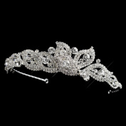 Michelle Rhinestone Petal Side Accented Wedding Bridal Tiara Headband