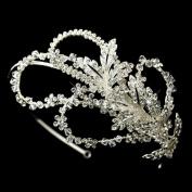 Jasmine Side Accented Rhinestone Leaf & Flower Petal Wedding Bridal Tiara Headband