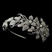 Natalie Antique Rhinestone Side Accented Flower Vine Wedding Bridal Tiara Headband
