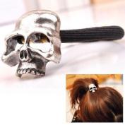 HuaYang Women Girl Gothic Punk Metal Human Skull Hair Ponytail Cuff Band Wrap Holder Tie