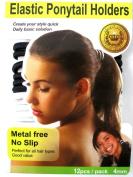 Beauty Town Elastic Ponytail Band Holders Metal Free No Slip Black & White 12 Pack