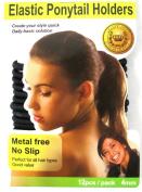 Beauty Town Elastic Ponytail Band Holders Metal Free No Slip Black 12 Pack