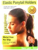 Beauty Town Elastic Ponytail Band Holders Metal Free No Slip Gold 12 Pack