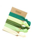 Elastic Hair Tie & Bracelet in One SOLID colour Green MIX 5PC