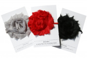 Shabby Rose Flower Ponytail Holder, Set of Three