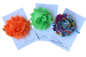 Shabby Rose Flower Ponytail Holder, Set of Three