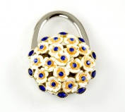 ". Foldable Handbag Holder Blue ""Flower Bouquet"" Purse Hook"