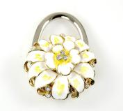 "Stylish Foldable Handbag Holder White ""Flower Bloom"" Purse Hook"
