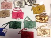 Rare Handmade Designer Raised Flower Purse Rectangle shaped Bag Pouch Wristlet Rose Wallet Handbag Clutch Faux Leather Tote Chic 3D Flower with Adjustable Strap