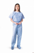 Disposable Elastic Waist Pants ( PANT, SCRUB, ELASTIC-WAIST, BLUE, MD, DISP ) 30 Each / Case