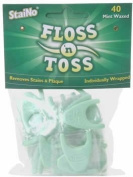 StaiNo Floss n Toss Flossers, Mint Waxed - 32 disposable floss Tablets