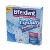 Efferdent Power Clean Crystals, Anti-Bacterial Denture Cleaner, Icy Mint, 24 ea