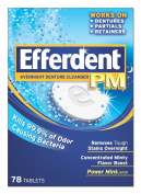 Efferdent Efferdent Pm Overnight Denture Cleanser Tablets Power Mint, Power Mint 78 tabs
