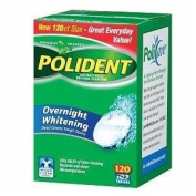 Polident Overnight Whitening, Antibacterial Denture Cleanser, Triple Mint Freshness, 120 Ea