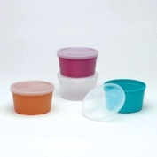 DENTURE CUP TURQUOISE W/LID