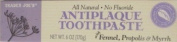 Trader Joe's Antiplaque Toothpaste with Fennel, Propolis & Myrrh 180ml