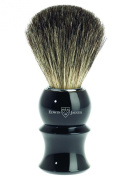 Edwin Jagger Black Plastic Handled Pure Badger Hair Shaving Brush 89p16