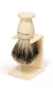 Edwin Jagger 9EJ947SDS Handmade Imitation Ivory Shaving Brush with Drip Stand - Small