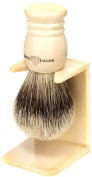 Edwin Jagger Super Badger Hair Handmade Imitation Ivory Small Shaving Brush with Drip Stand