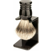 Edwin Jagger Super Badger Hair Handmade Imitation Ebony Small Shaving Brush with Drip Stand