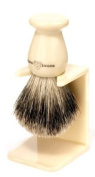Edwin Jagger Best Badger Hair Handmade Imitation Ivory Large Shaving Brush with Drip Stand