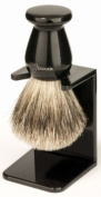 Edwin Jagger 3EJ946LDS Handmade Imitation Ebony Shaving Brush with Drip Stand - Large