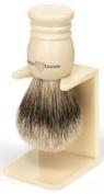 Edwin Jagger Large Handmade Imitation-Ivory Super-Badger-Hair Shaving Brush with Drip Stand